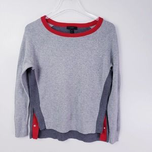 J.Crew Colorblock Gray Sweater Side Snaps Size XS
